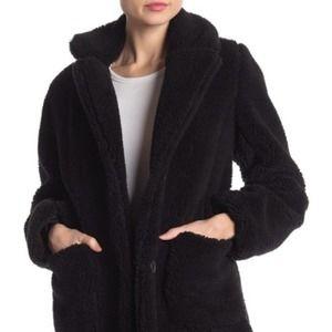 Sebby Notch Lapel Faux Shearling Jacket-Sz M